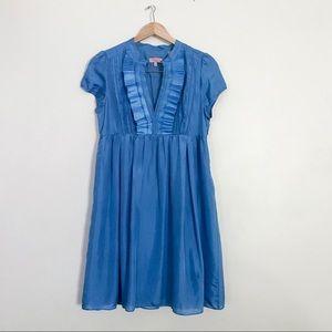 Ted Baker Blue Silk Ruffle Short Sleeve Dress